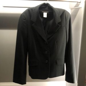 Black blazer with black pinstripes